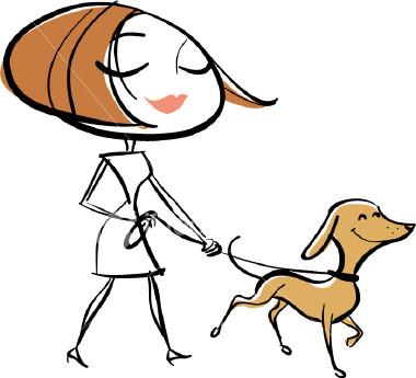 Woman Walking Dog Clipart